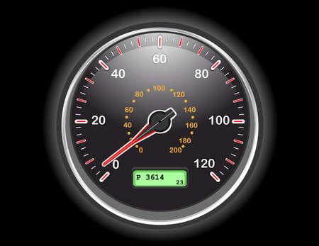 accelerating: Car speedometer gauge at night.  EPS AI8 Illustration