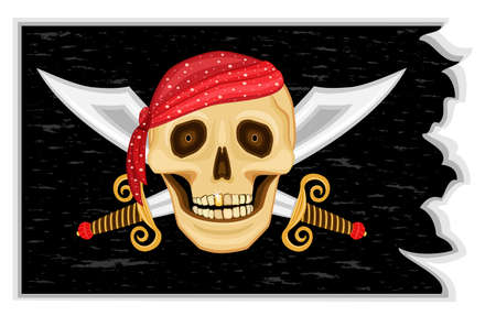 The Jolly Roger - Pirate black flag with human Stock Vector - 7101477