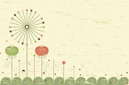 merci: Carte de voeux r�tro de fleurs et de pissenlit. Avec salle de votre texte. Convient comme toile de fond pour les invitations et les notes de vous remercier. Tous les �l�ments en couches et regroup�es.
