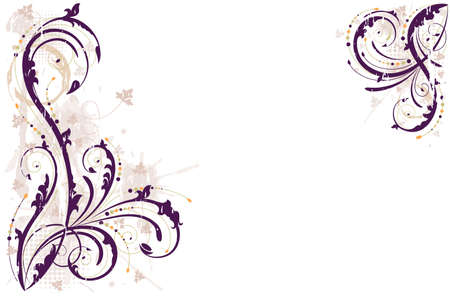 Grunge floral background in shades of purple. All elements layered and grouped.  Vector