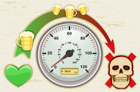 Drunk driving leads to death - never drink and drive. All elements layered and grouped.