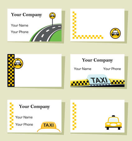 Set of six business cards for taxi companies. CMYK colors, bleed of 1.25 included, ready to be printed.