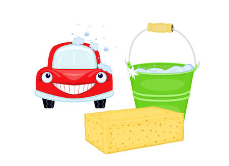 shampooing: Car wash with happy red car and bucket with soapy water. EPS AI8 Illustration