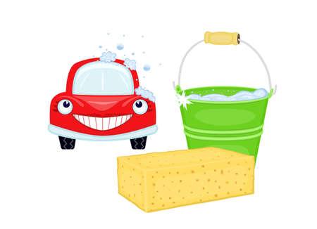 soapy: Lavado de coches con coche rojo feliz y balde con agua jabonosa. EPS AI8  Vectores