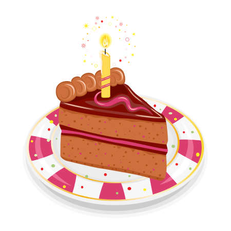 Festive birthday chocolate cake with golden candle. Isolated on white background.  Vector