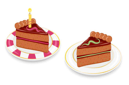 Two slices of festive birthday chocolate cakes. With mint and strawberry flavors and golden candle. Vector