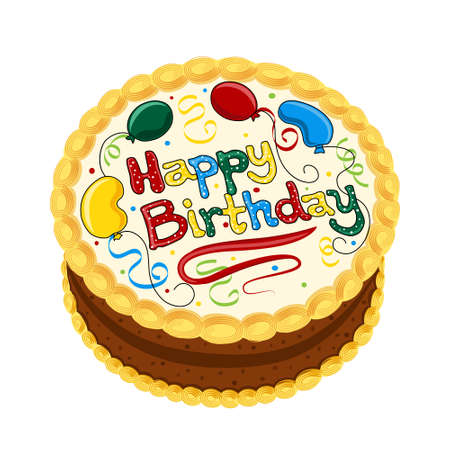 Happy Birthday chocolate cake decorated with balloons and confetti. Isolated on white background.