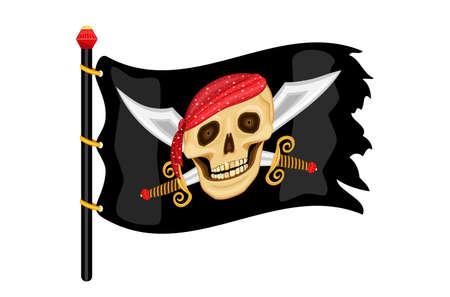 drapeau pirate: Le Jolly Roger - Drapeau de pirate onduler dans le vent.