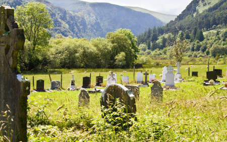 Peaceful ancient celtic cemetery at Glendalough, in Wicklow mountains, Ireland.  Stock Photo - 7516213