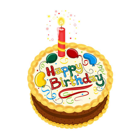 saved: Happy Birthday chocolate cake with candle. Isolated on white background. Vector file saved as EPS AI8, all elements layered and grouped. Easy edit.