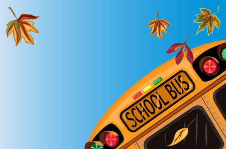 Back to School in September with school bus and autumn leaves.Vector file saved as EPS AI8, all elements layered and grouped.  Illustration