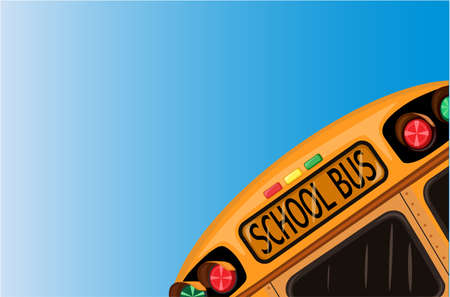 vector school: Education for a brighter future with school bus over blue sky. Vector file saved as EPS AI8, all elements layered and grouped.