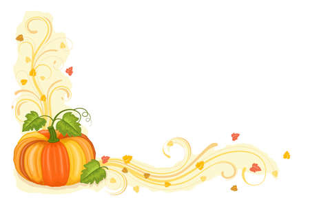 freshly: Autumn celebration with tasty pumpkin freshly harvested. With scrolls and swirls. Isolated over white background with room for your text.
