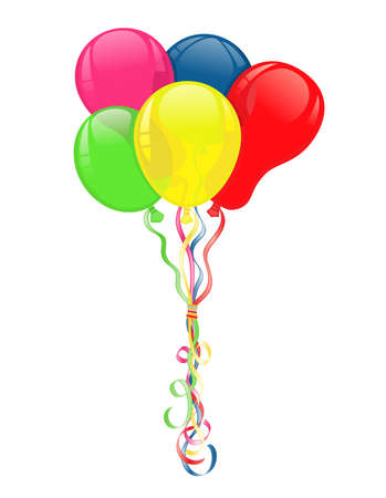 Colorful balloons for party celebrations. Vector file saved as AI8, fake transparency, all elements layered and grouped.  Vectores