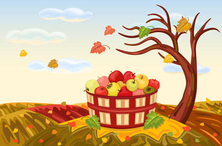 Beautiful autumn landscape with rich apple harvest under a bare, lone tree. The wind is blowing and the leaves are falling. Vector illustration saved as AI8, all elements layered and grouped.