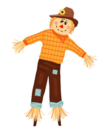 Autumn celebrations with cute scarecrow. Isolated over white background. Vector illustration saved as AI8, no effects, no filters, no gradients, easy printing.