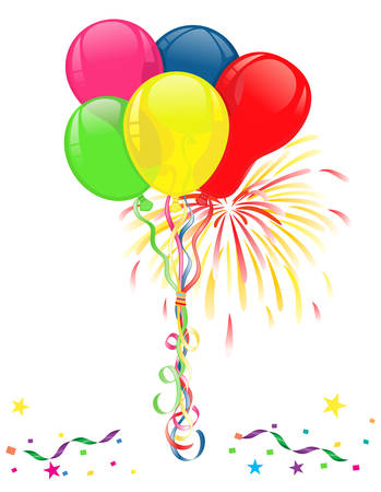Colorful balloons, fireworks and confetti for parties and celebrations. Isolated over white background. Vector file saved as AI8, no effects, easy printing.  Vectores