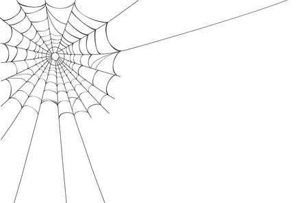 Creepy spider web in the corner. Vector illustration saved as AI 8, no effects, easy printing.  Stock Vector - 7732387