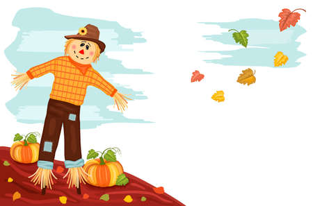Autumn harvesting with cute scarecrow and pumpkins. AI 8, no effects, no filters, easy printing.  Stock Vector - 7732409