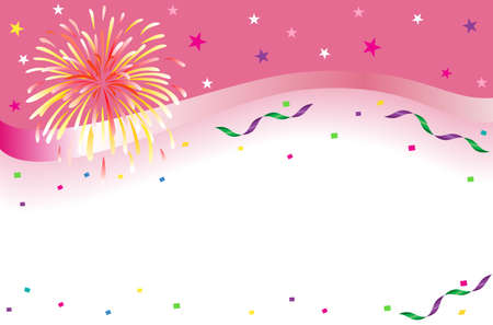 Celebrations and party banner with sparkling fireworks and colorful confetti. AI 8, no effects, no filters, easy print.  Illustration
