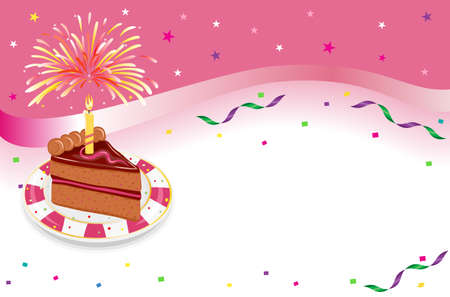 Happy Birthday - party celebration with festive cake, glowing candle and fireworks. Over white background with room for your text. AI 8, all elements layered and grouped.  Illustration