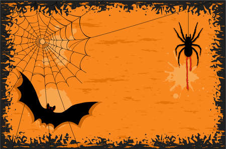 Halloween party with creepy spider and scary bat. AI 8, no gradients, no effects, easy printing.  Vector