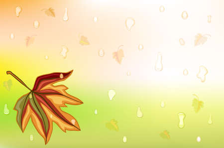 falling leaves: Autumn background wit golden leaf and drops of rain. Vector illustration saved as EPS AI8, gradient mesh used.