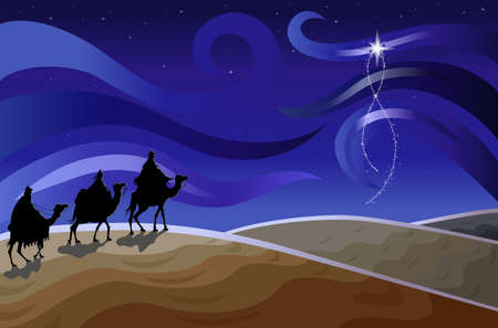 Religious Christmas card with The Three Wise Men Illustration