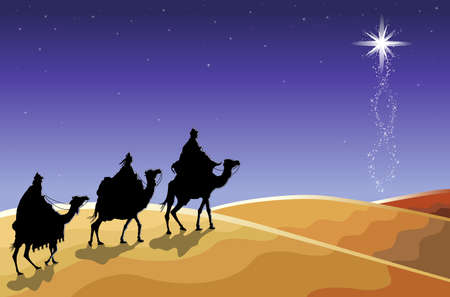 Christmas religious card with The Three Magi following the rising Star. Vector illustration saved as EPS AI 8, no effects, simple gradients.