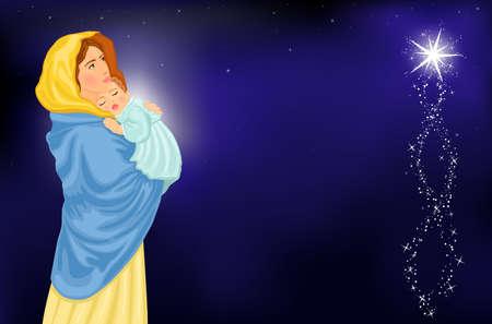 virgen maria: Religiosos de Navidad de tarjetas con la Virgen Mar�a y Jes�s para beb�s. Ilustraci�n vectorial guardado como EPS AI 8, - malla de degradado utilizado.