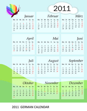 Calendar for the year 2011. German version with bank holidays included. Vector file saved as EPS AI8.  Vector