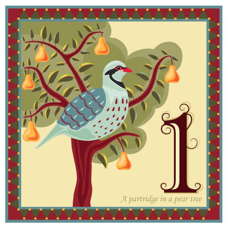 梨: 梨の木にいるヤマウズラをクリスマスの 12 日間  イラスト・ベクター素材