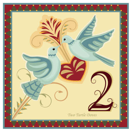 christmas carols: The 12 Days of Christmas - 2-nd day - Two turtle doves. Vector illustration saved as EPS8 Illustration