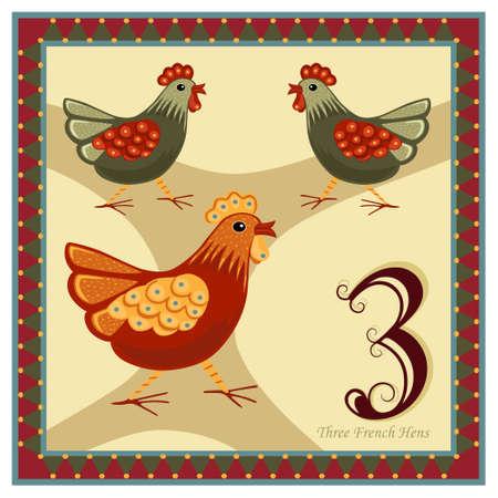 calendrier jour: Les 12 jours de No�l - 3-�me jour - trois poules fran�ais