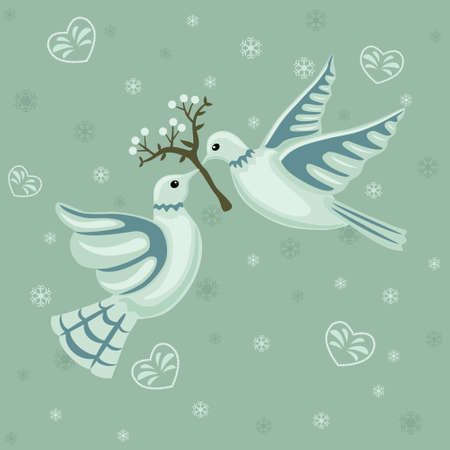 Christmas seamless pattern with doves and mistletoe.