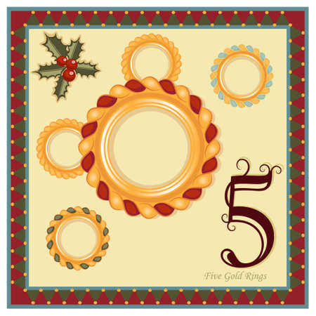 The 12 Days of Christmas - 5th Day - Five Gold Rings. Stock Vector - 8114920