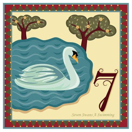 calendrier jour: Les 12 jours de No�l - 7e jour - sept Swans une baignade  Illustration