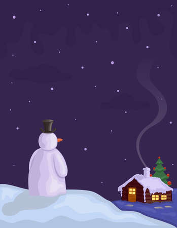 Snowing on Christmas night - with Snowman Vector