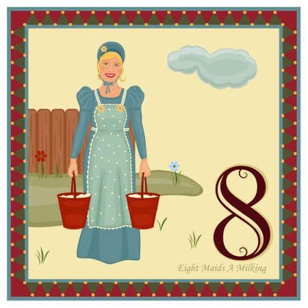 Los 12 días de Navidad - octavo día - ocho doncellas A ordeño guarda como AI8, sin degradados, sin efectos, fácil de imprimir.   Ilustración de vector