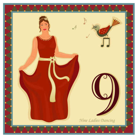 The 12 Days of Christmas - 9-th Day - Nine ladies dancing Vector