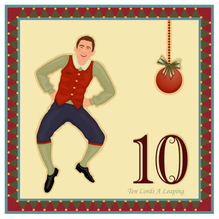a 12: The 12 Days of Christmas - 10-th Day - Ten Lords A Leaping Illustration