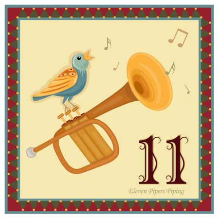 The 12 Days of Christmas - 11-th Day - Eleven Pipers PipingVector illustration saved as EPS AI 8, no effects, no gradients, easy print.