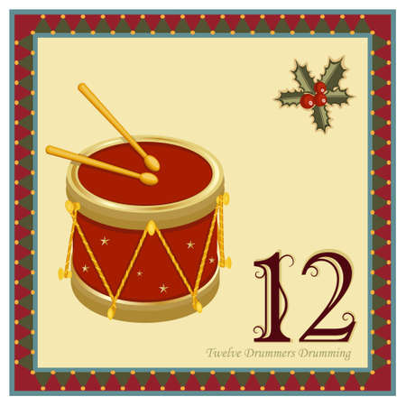 The 12 Days of Christmas - 12-th Day - Twelve Drummers DrummingVector illustration saved as EPS AI 8, no effects, easy print.   Vector