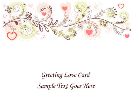 Valentines Day Greeting Card. Over white background.