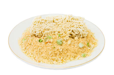 Instant noodle soup on a plate. Isolated over white background. photo