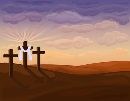 Religious Easter Card - crucifixion on Golgotha hills