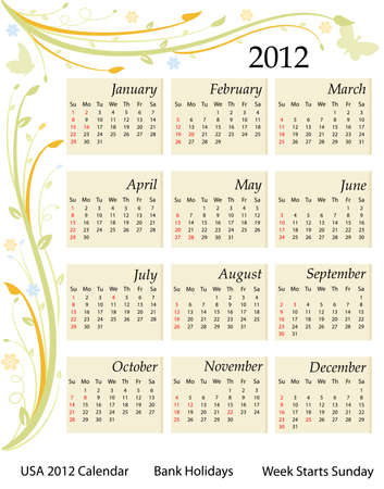 Calendar for the year 2012. USA version with bank holidays included. Over white background. Vector file saved as EPS AI8, all elements grouped and labeled. Stock Vector - 9196586