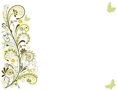 efectos especiales: Tarjeta floral de primavera con remolinos y mariposas. Sobre fondo blanco. Ilustraci�n vectorial guardado como EPS AI8, todas las capas llamado y agrupados, efectos especiales, f�ciles no imprimir.