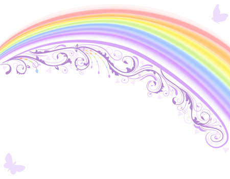 Rainbow with floral design over white background. Vector file saved as EPS AI8, no gradients or special effects, easy print.