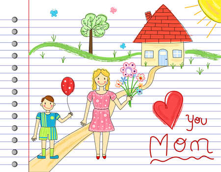 all day: Mother Day card - kids crayon drawings. Over white notebook page. Vector file saved as EPS AI8, all objects grouped and layered, no gradients, no effects, easy printing.